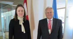 Ksenia Khoruzhnikova, G-20Y Summit International Organizing Committee Association Founder and President and H.E. Mr. Martin Sajdik, President of the Economic and Social Council, United Nations